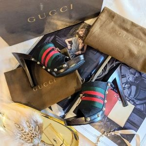 Gucci Wood Clog Studded Heels Size 5